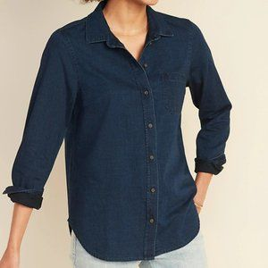 Old Navy Chambray Classic Shirt Dark Wash Size XL